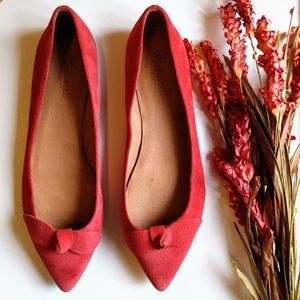 Madewell Suede Flats Pointed Toe Bow Ballet 11